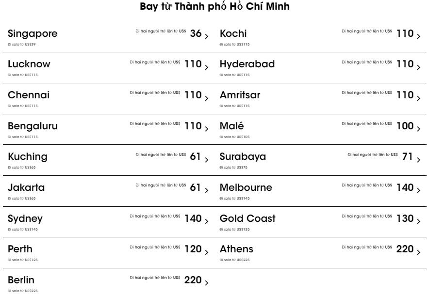 Giá vé máy bay từ Hồ Chí Minh cùng Scoot bứt phá 17 điểm đến