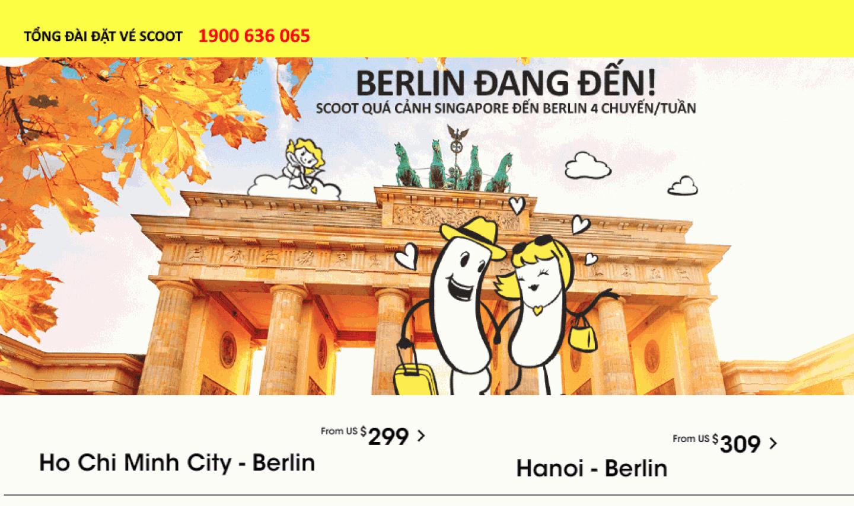 Scoot khuyến mãi vé máy bay đi Berlin Anh giá rẻ
